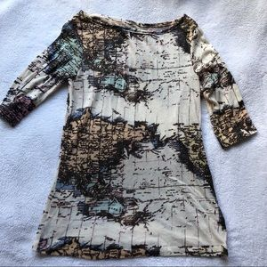 Urban Outfitters BDG Map 1/2 sleeve tee